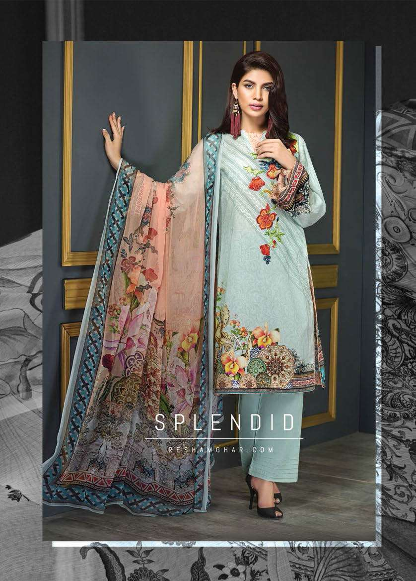 Resham Ghar Embroidered Lawn Unstitched 3 Piece Suit RG17E2 07