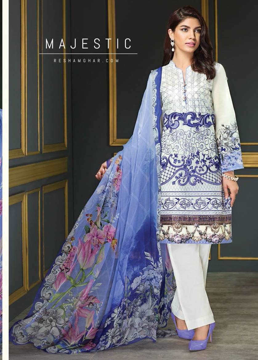 Resham Ghar Embroidered Lawn Unstitched 3 Piece Suit RG17E2 08
