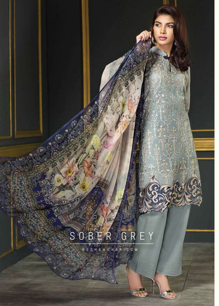 Resham Ghar Embroidered Lawn Unstitched 3 Piece Suit RG17E2 10