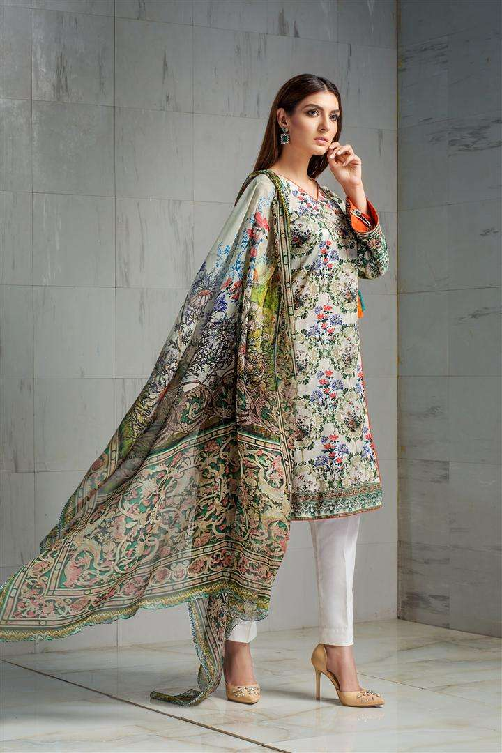 Resham Ghar Embroidered Lawn Unstitched 3 Piece Suit RG17L 2B