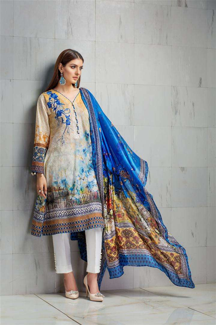Resham Ghar Embroidered Lawn Unstitched 3 Piece Suit RG17L 4A