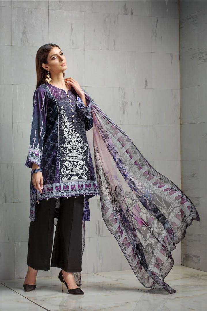Resham Ghar Embroidered Lawn Unstitched 3 Piece Suit RG17L 9A