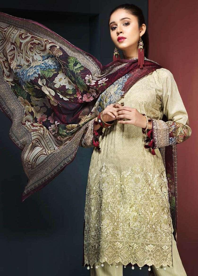 Resham Ghar Embroidered Viscose Unstitched 3 Piece Suit RG17W 04