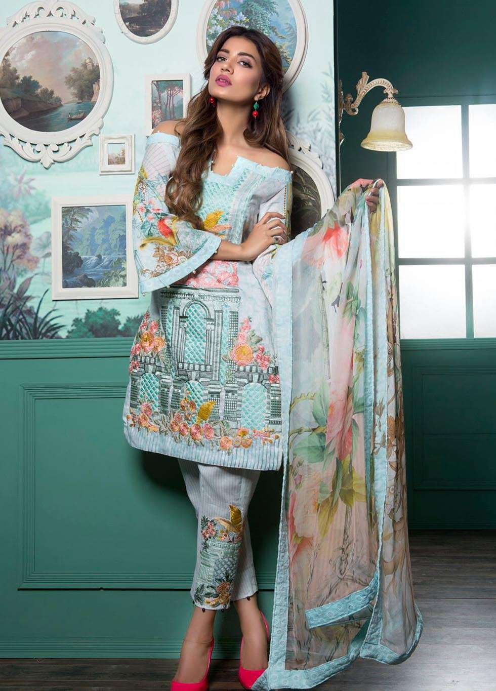 Rang Rasiya Embroidered Lawn Unstitched 3 Piece Suit RGR17E3 Bomanesque B