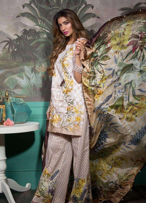 Rang Rasiya Embroidered Lawn Unstitched 3 Piece Suit RGR17E3  Botanical B