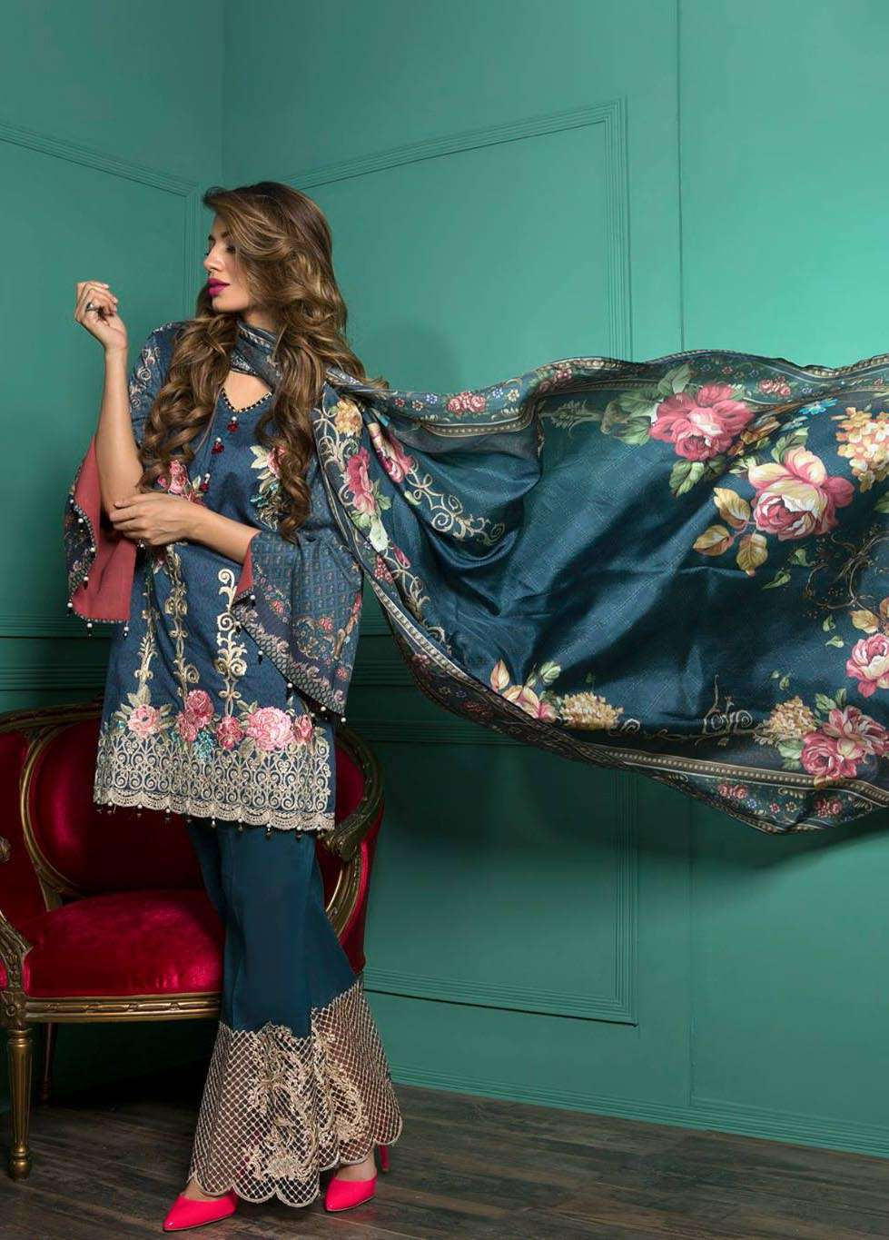 Rang Rasiya Embroidered Lawn Unstitched 3 Piece Suit RGR17E3 Enchanted Rose A