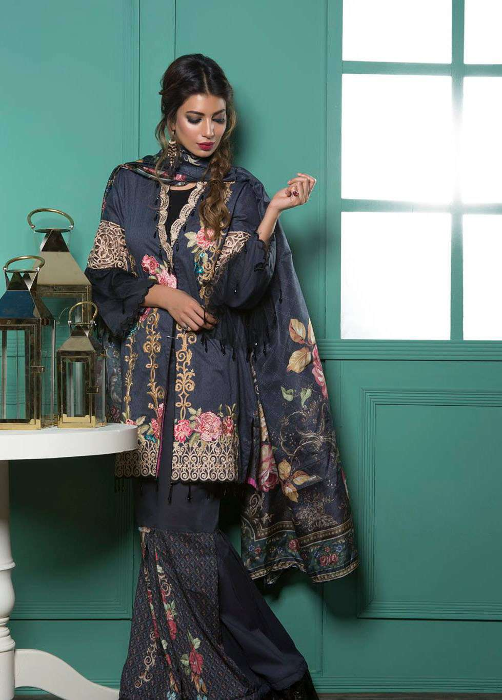 Rang Rasiya Embroidered Lawn Unstitched 3 Piece Suit RGR17E3 Enchanted Rose B
