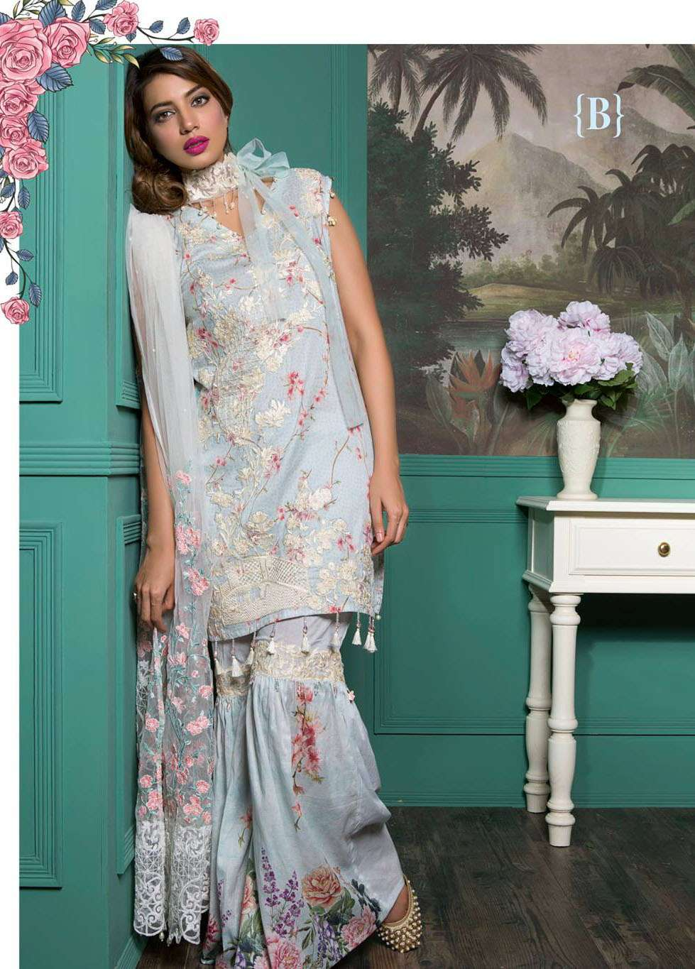 Rang Rasiya Embroidered Lawn Unstitched 3 Piece Suit RGR17E3 Oriental Blossoms B