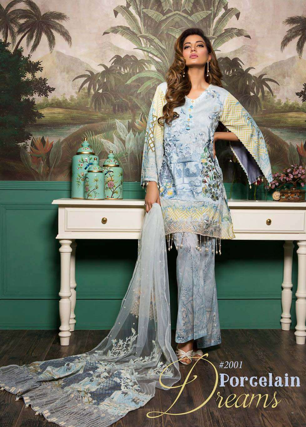 Rang Rasiya Embroidered Lawn Unstitched 3 Piece Suit RGR17E3 Porgelain Dreams A