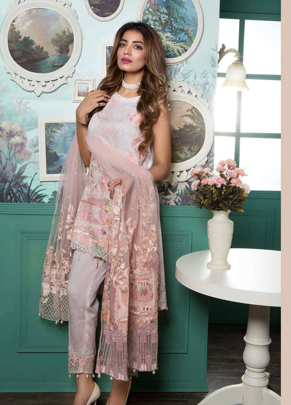 Rang Rasiya Embroidered Lawn Unstitched 3 Piece Suit RGR17E3 Porgelain Dreams B