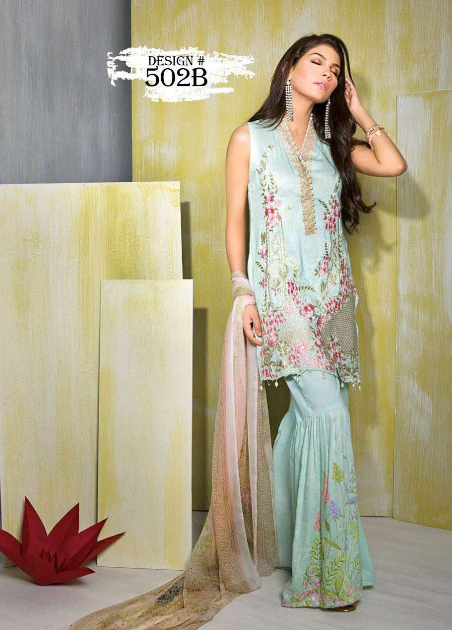 Rang Rasiya Embroidered Linen Unstitched 3 Piece Suit RGR17W 502B