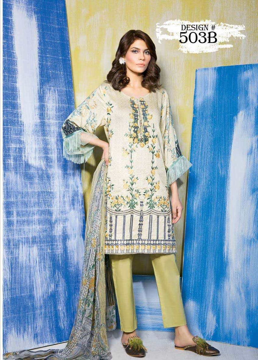 Rang Rasiya Embroidered Linen Unstitched 3 Piece Suit RGR17W 503B