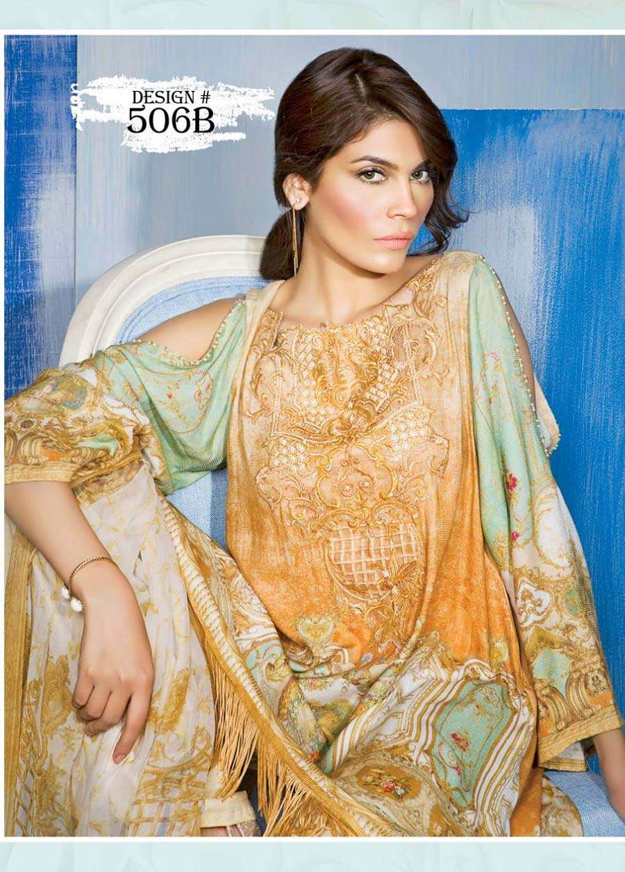 Rang Rasiya Embroidered Linen Unstitched 3 Piece Suit RGR17W 506B