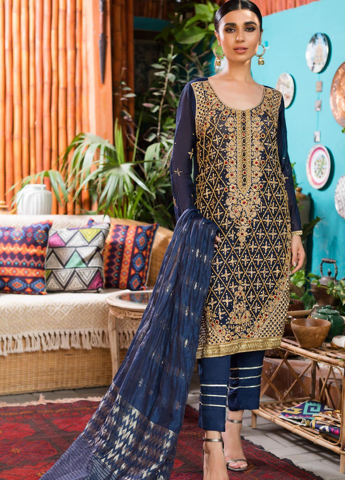 Rizwan Ahmed by Zohan Textiles Embroidered Organza Unstitched 3 Piece Suit ZT20RA D-02 - Festive Collection