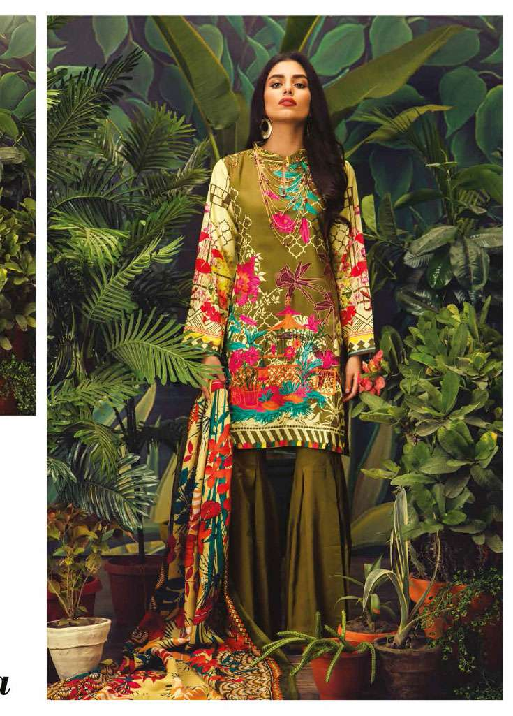 RajBari Embroidered Linen Unstitched 3 Piece Suit RJ17W 7A