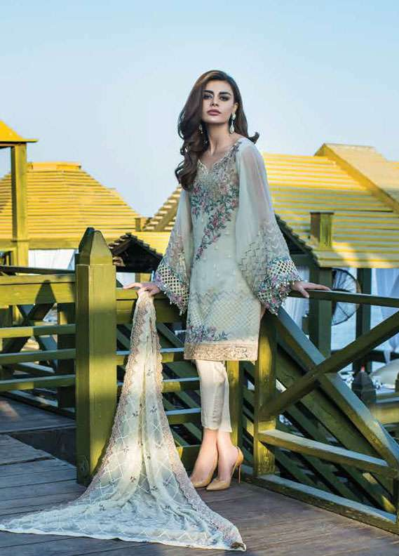 Reemal Khan Embroidered Chiffon Unstitched 3 Piece Suit RK18C 03