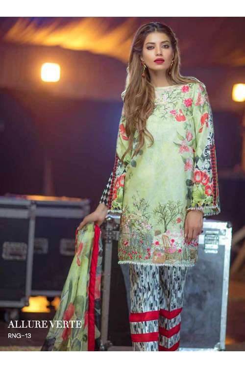 Rungrez Embroidered Lawn Unstitched 3 Piece Suit RNG17E 13