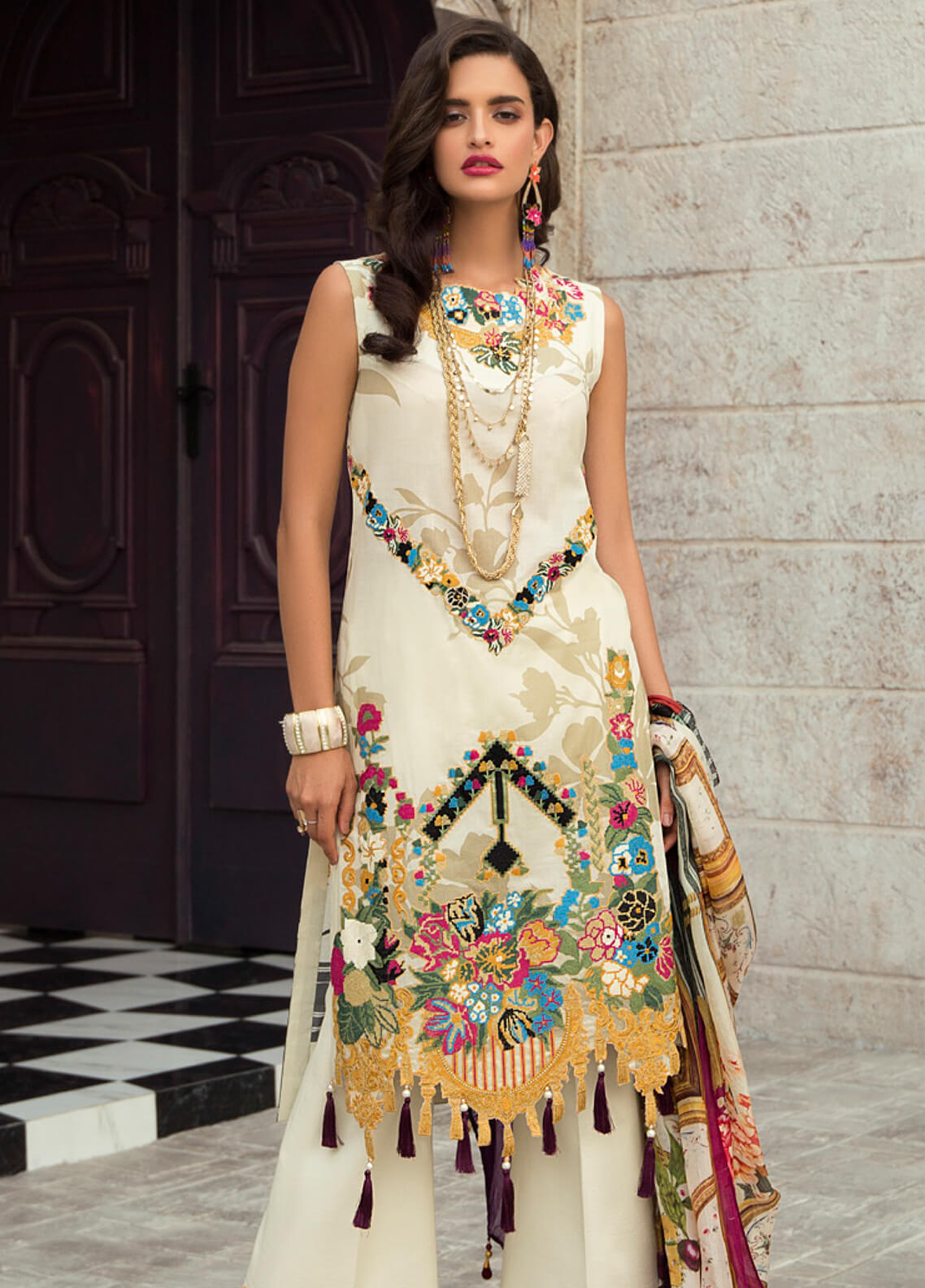 Rouche Embroidered Lawn Unstitched 3 Piece Suit RCH19L 13 OPAL SILK - Festive Collection