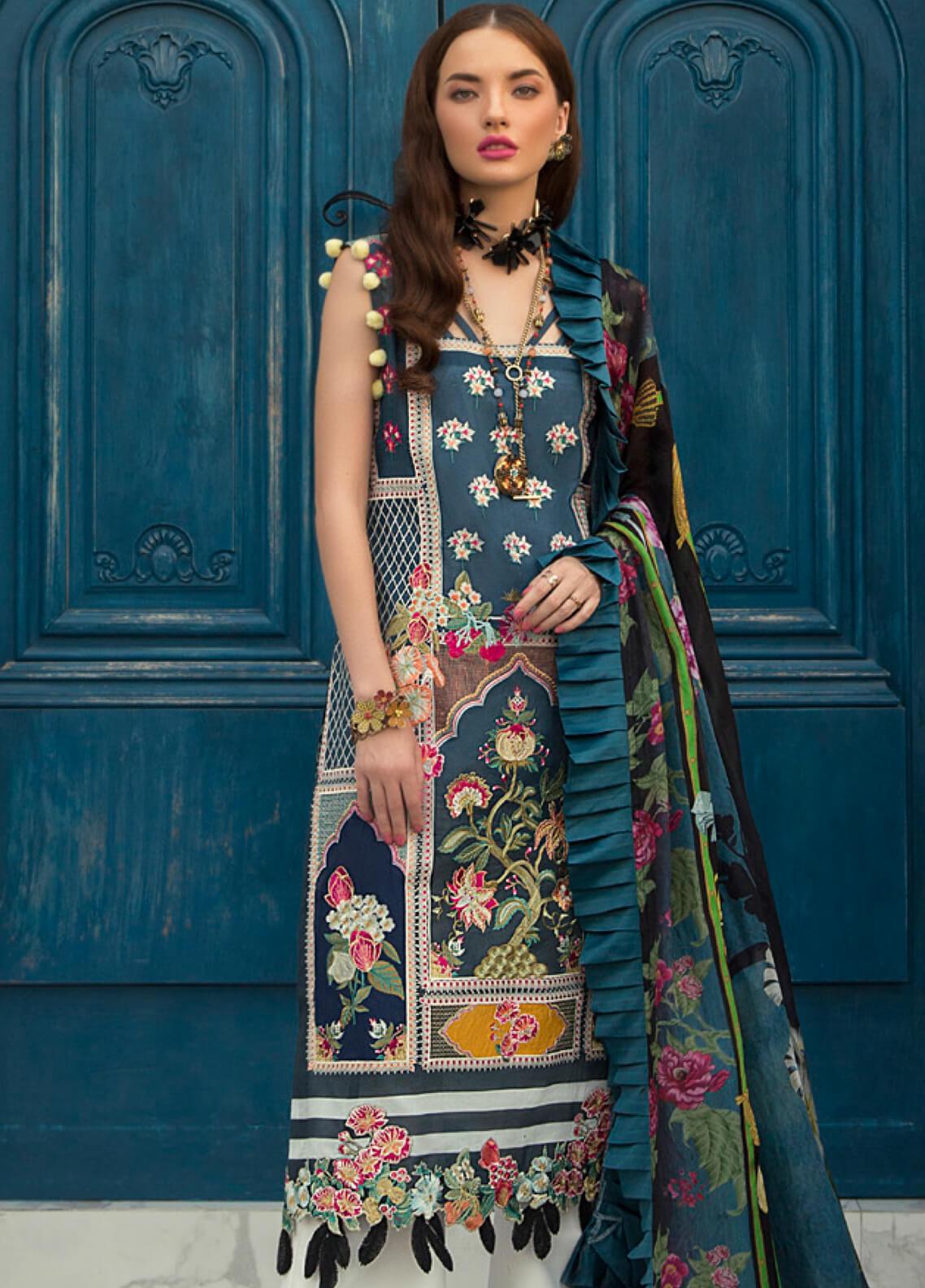 Rouche Embroidered Lawn Unstitched 3 Piece Suit RCH19L 14 BEACH HEAVEN - Festive Collection