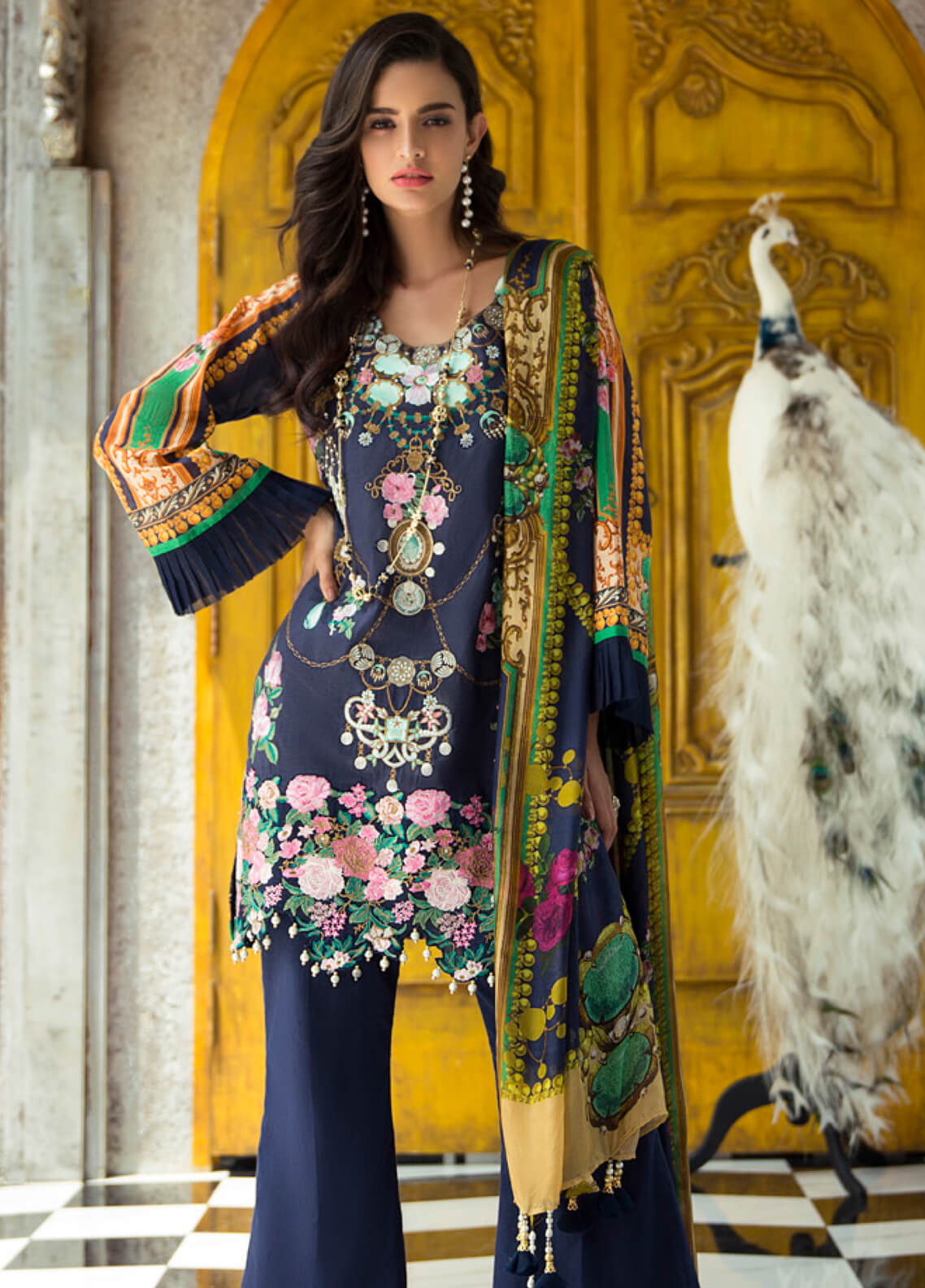 Rouche Embroidered Lawn Unstitched 3 Piece Suit RCH19L 2 DEEP SHADOWS - Festive Collection