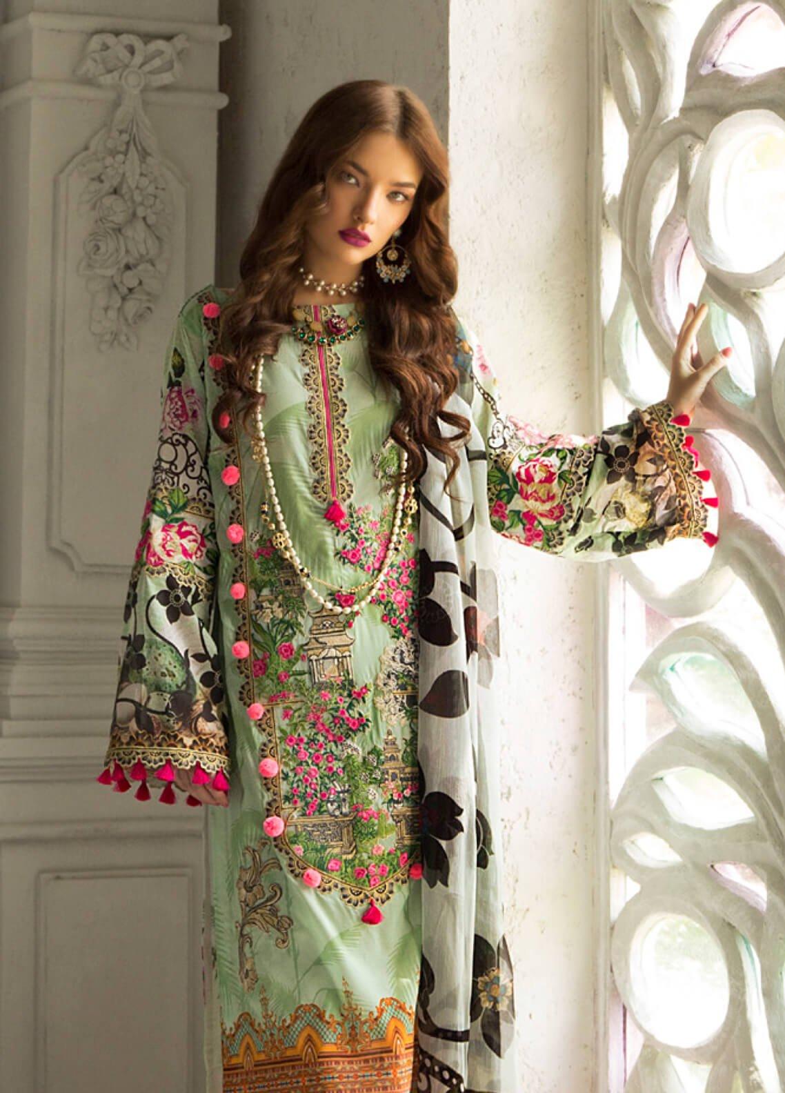 Rouche Embroidered Lawn Unstitched 3 Piece Suit RCH19L 6 ELEGANT GLOW - Festive Collection
