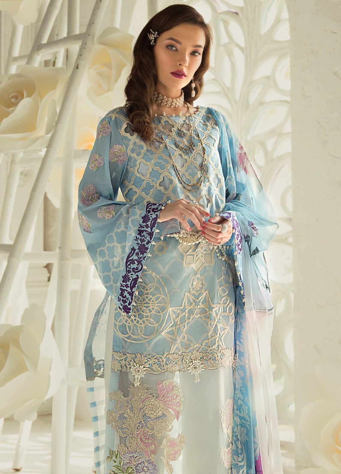 Rouche Embroidered Lawn Unstitched 3 Piece Suit RCH19L 9 SEA SHINE - Festive Collection