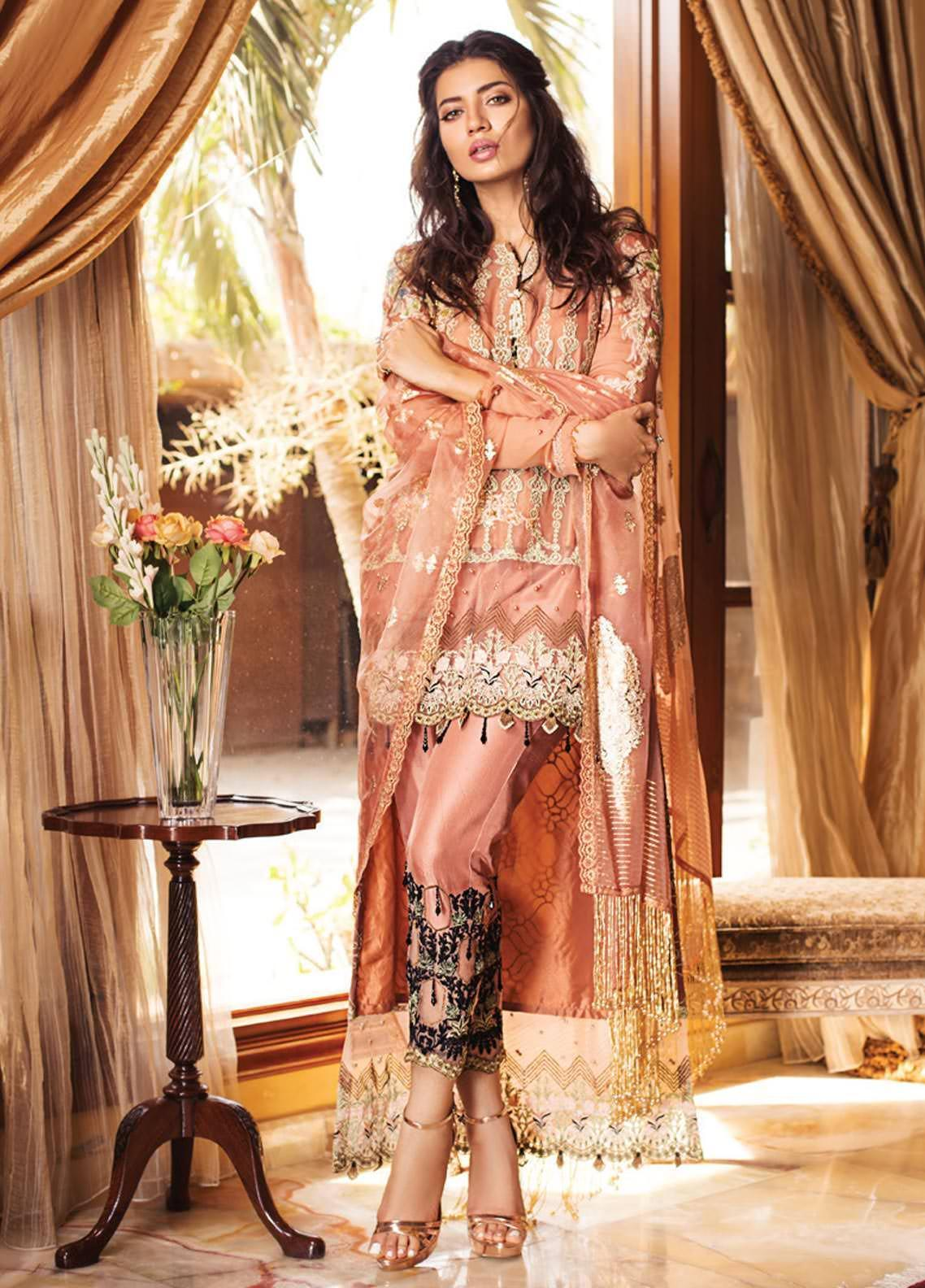 Rozina Munib Embroidered Chiffon Unstitched 3 Piece Suit RZM19C 03 - Festive Collection