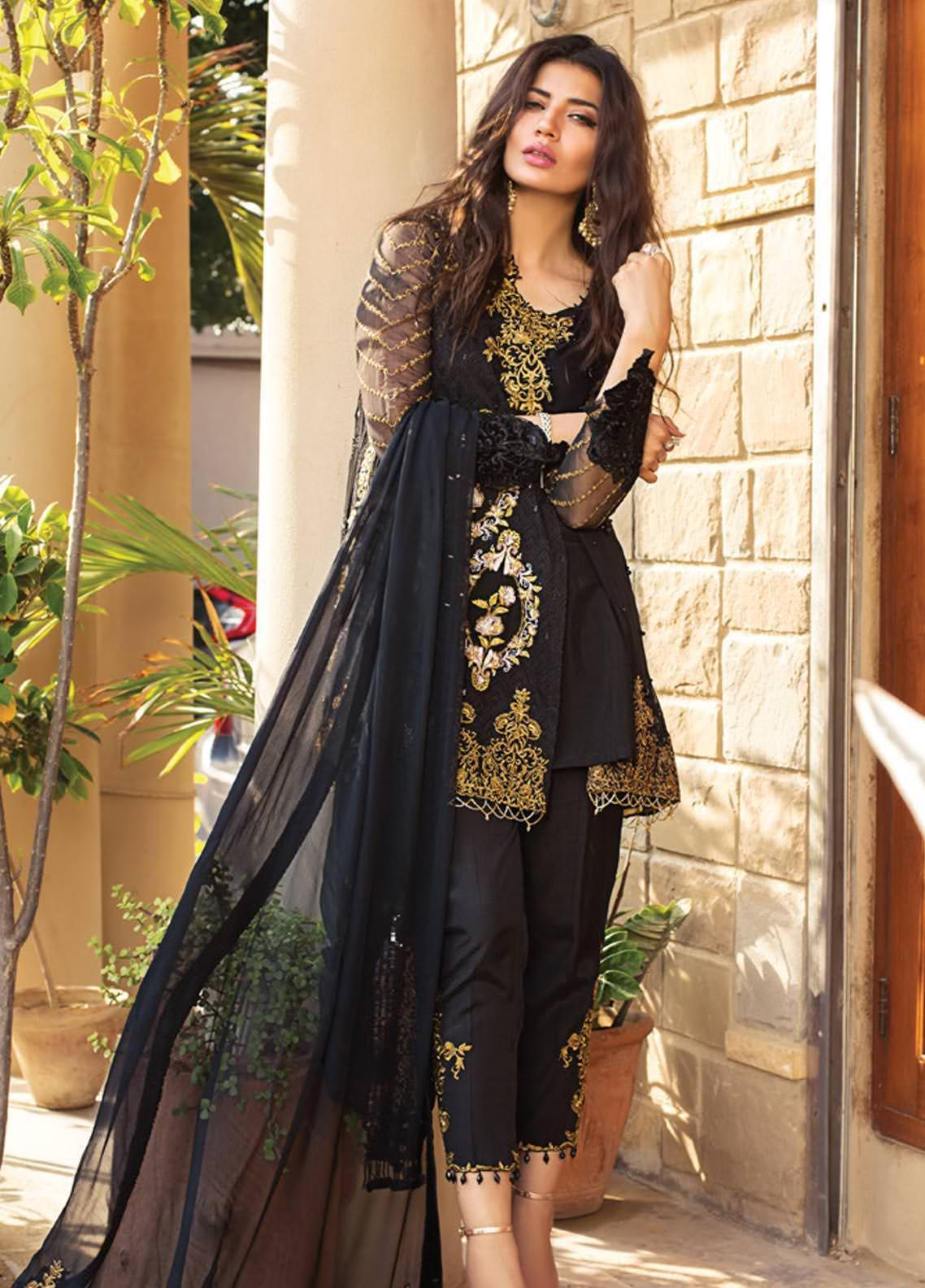 Rozina Munib Embroidered Chiffon Unstitched 3 Piece Suit RZM19C 04 - Festive Collection
