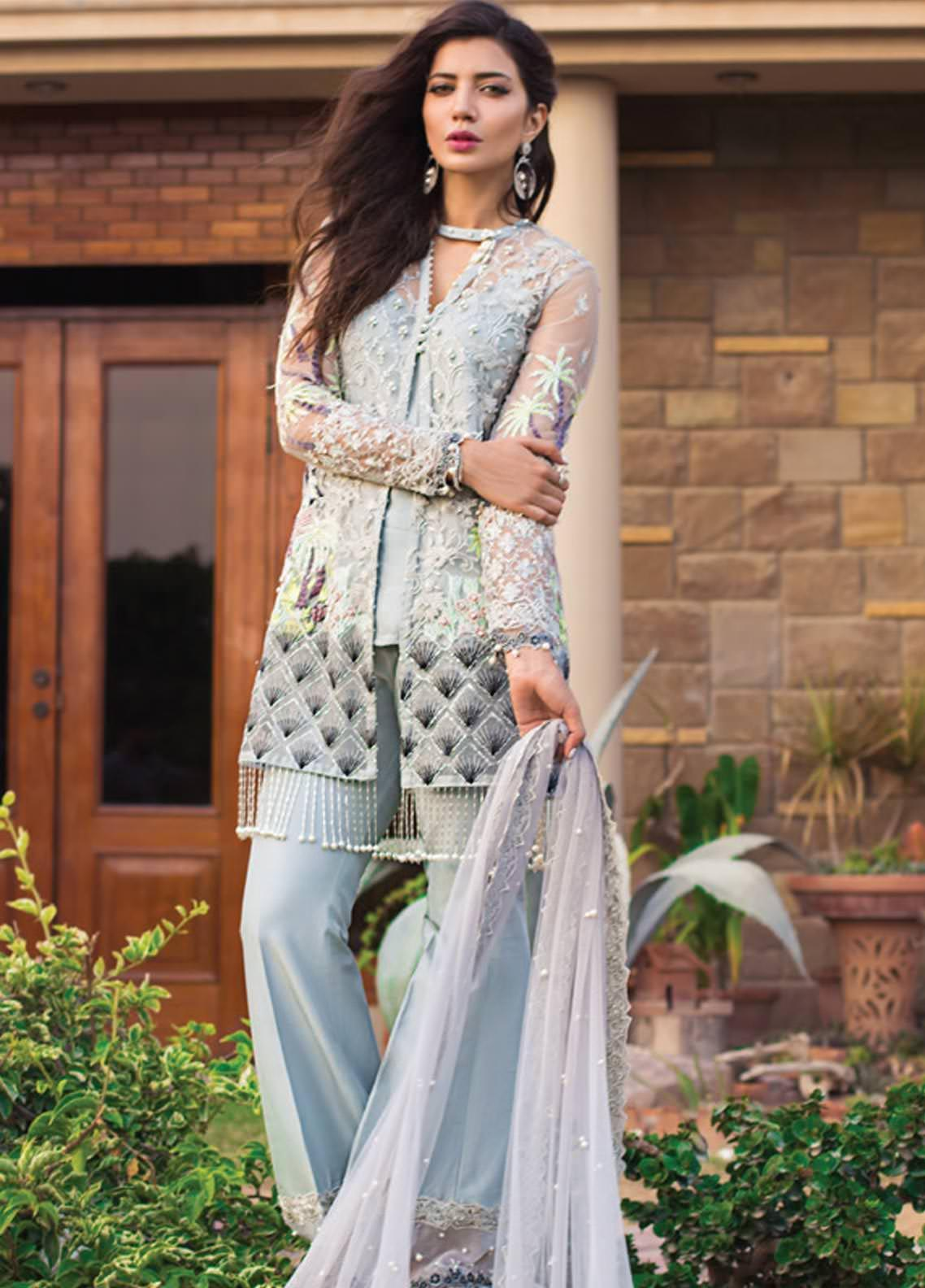 Rozina Munib Embroidered Chiffon Unstitched 3 Piece Suit RZM19C 07 - Festive Collection