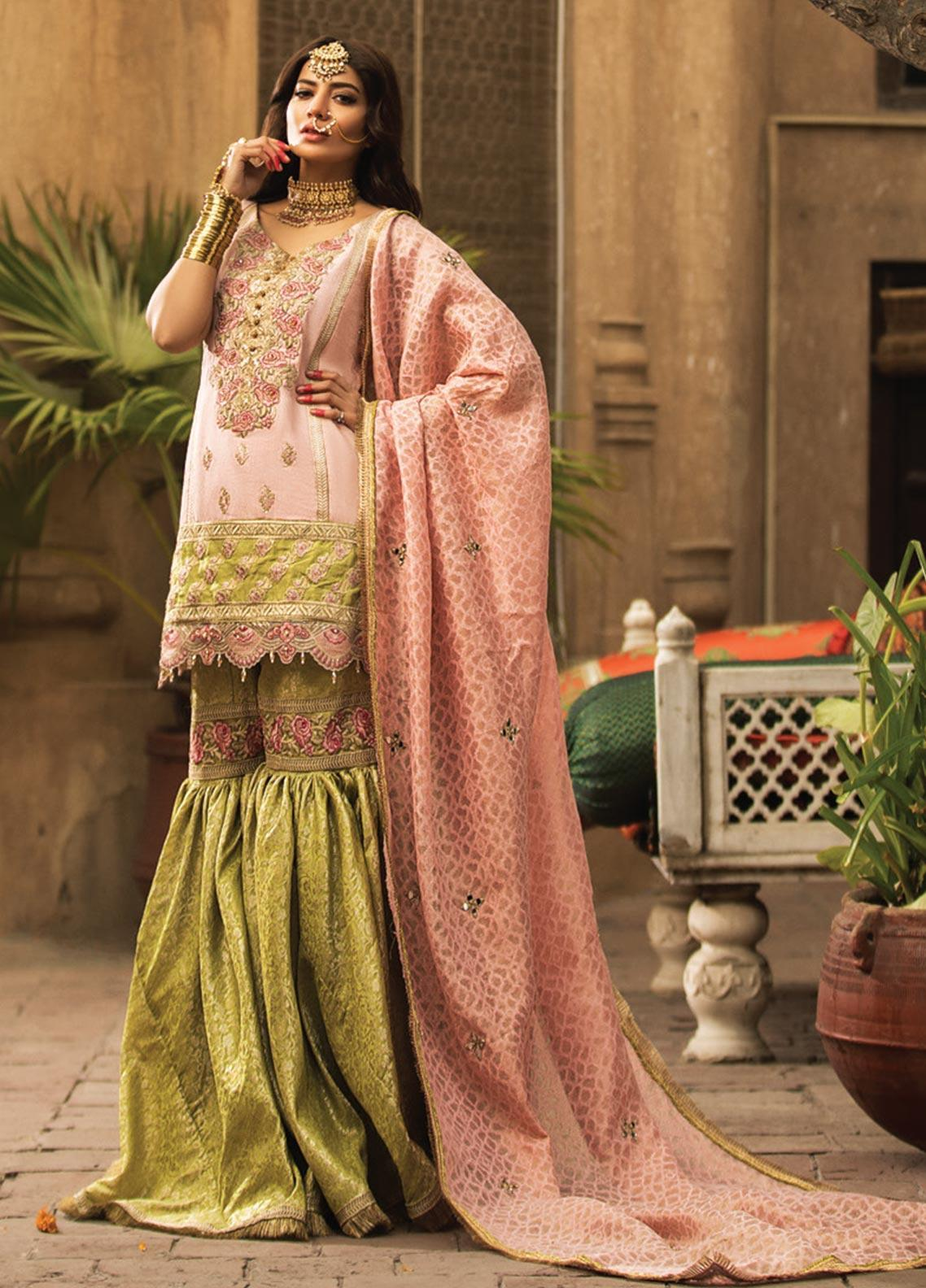 Zarqash Embroidered Cotton Net Unstitched 3 Piece Suit ZRQ20WE 1 GUL BANO - Wedding Collection