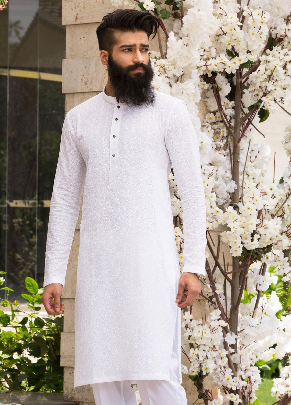 CZAR by Rungrez Wash N Wear Formal Kurta Pajama for Men - White CZR19M 05
