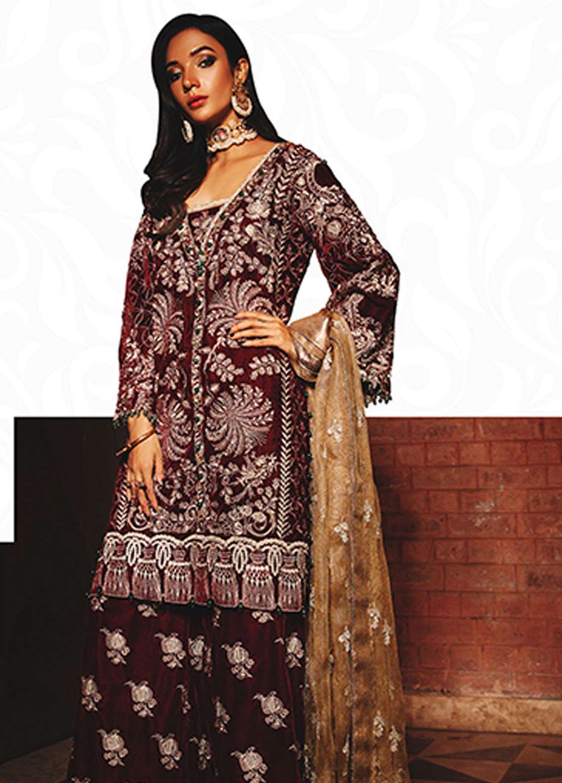 Rungrez Embroidered Chiffon Unstitched 3 Piece Suit RNG18CP 1 Badakhshan - Luxury Collection