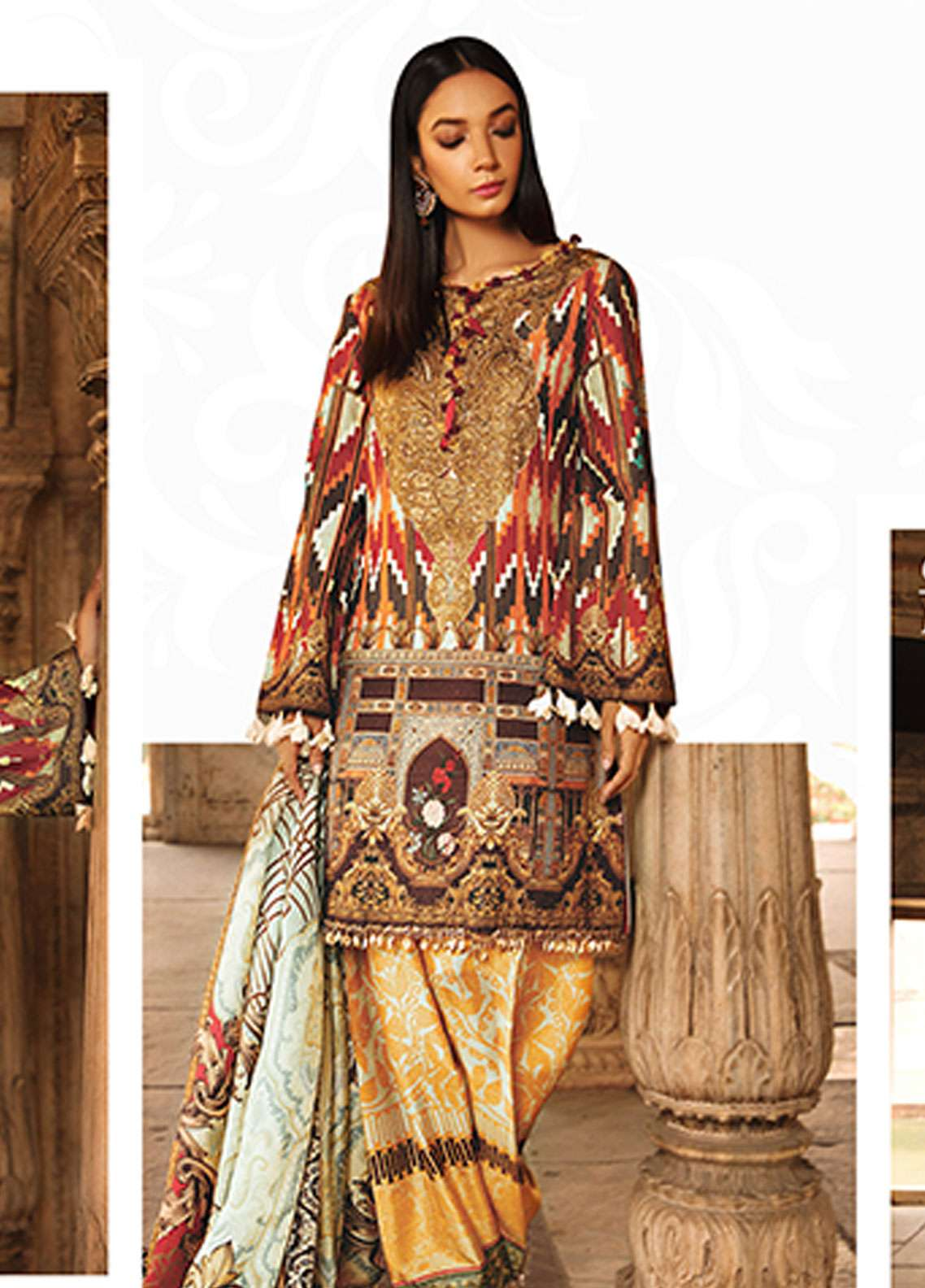 Rungrez Embroidered Chiffon Unstitched 3 Piece Suit RNG18CP 9 Zhaleh - Luxury Collection