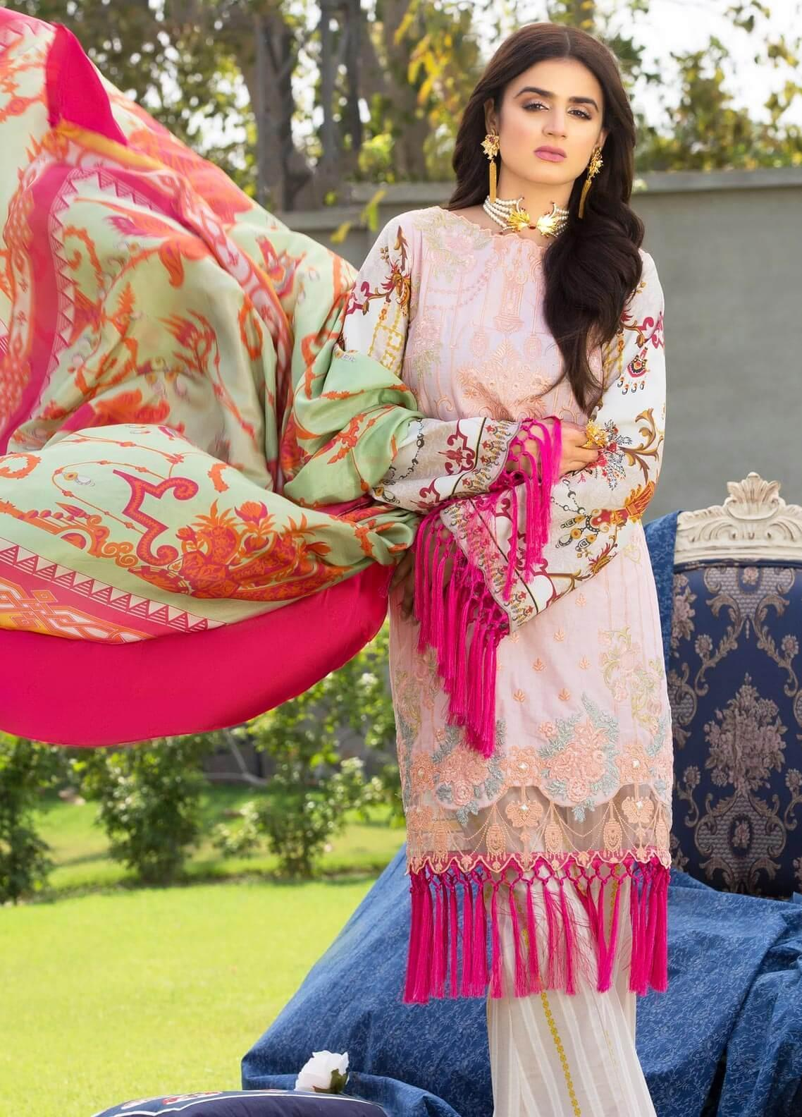 Rungrez Embroidered Lawn Unstitched 3 Piece Suit RNG19E 01 FAUX BROCART - Festive Collection