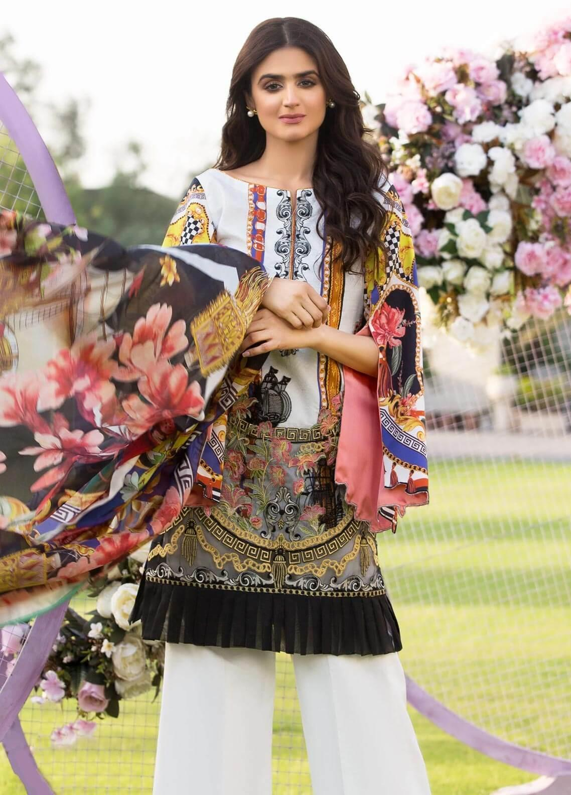 Rungrez Embroidered Lawn Unstitched 3 Piece Suit RNG19E 03 PERIPLE - Festive Collection