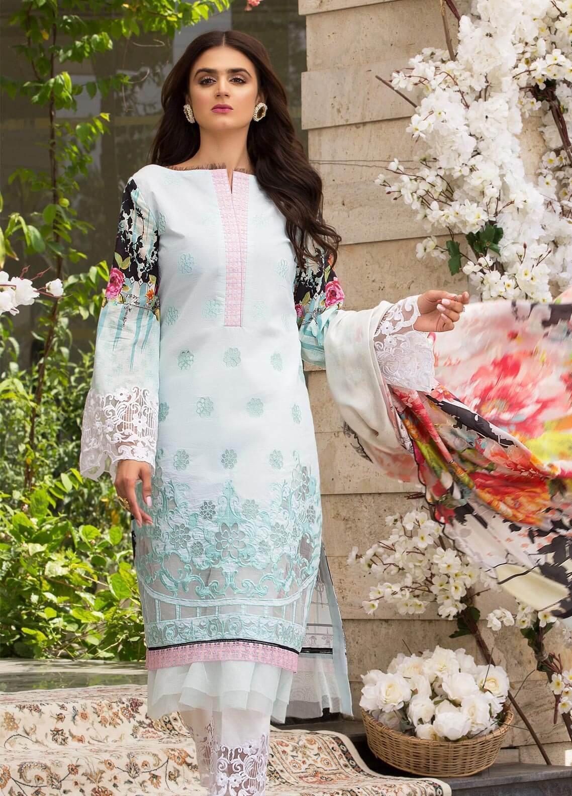 Rungrez Embroidered Lawn Unstitched 3 Piece Suit RNG19E 04 FOND DECRAN - Festive Collection