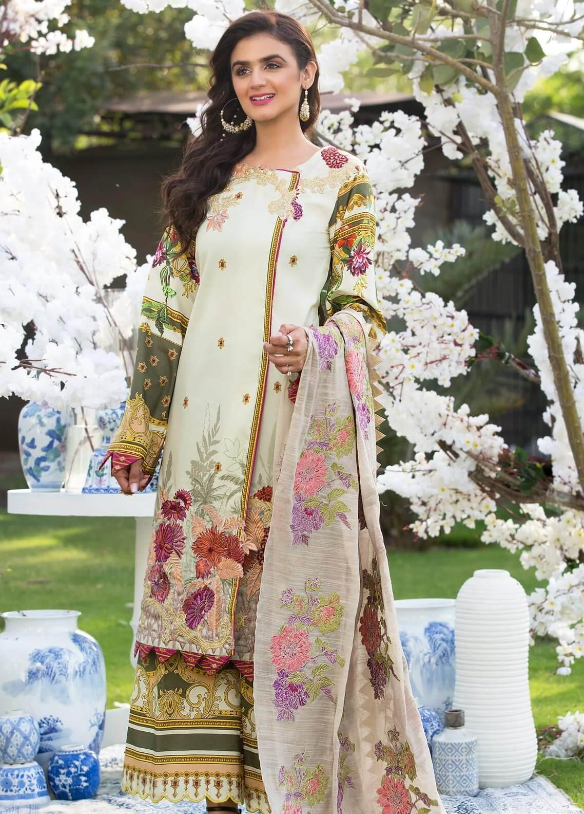 Rungrez Embroidered Lawn Unstitched 3 Piece Suit RNG19E 05 SERRE - Festive Collection