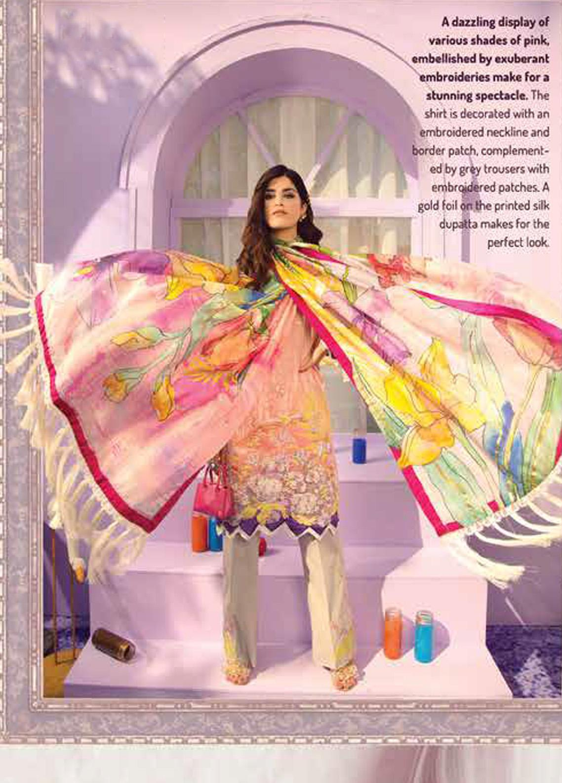 Rungrez Embroidered Lawn Unstitched 3 Piece Suit RNG20R MISTY PINK D-8 - Luxury Collection