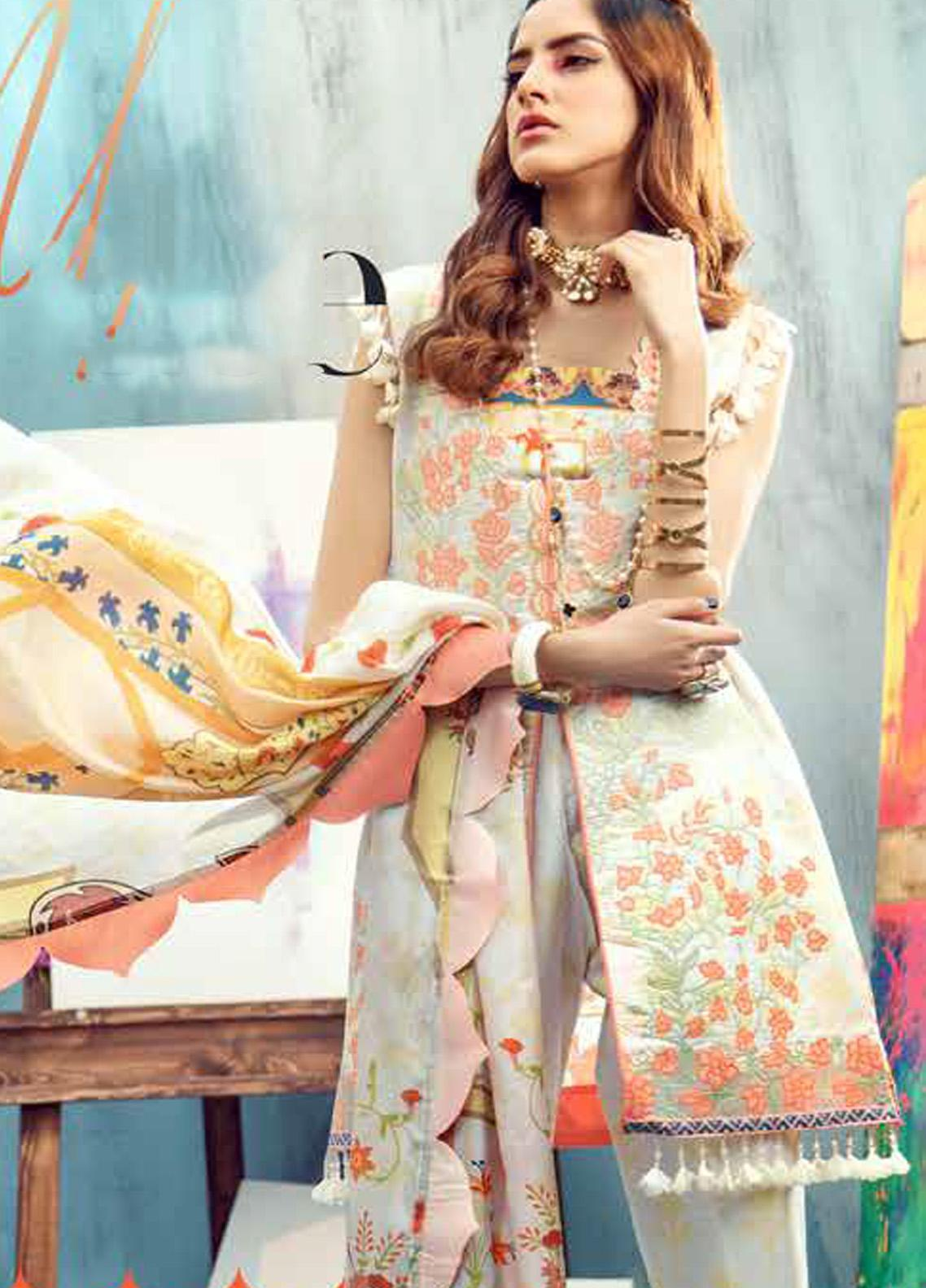 Rungrez Embroidered Lawn Unstitched 3 Piece Suit RNG20R MUSE D-7 - Luxury Collection