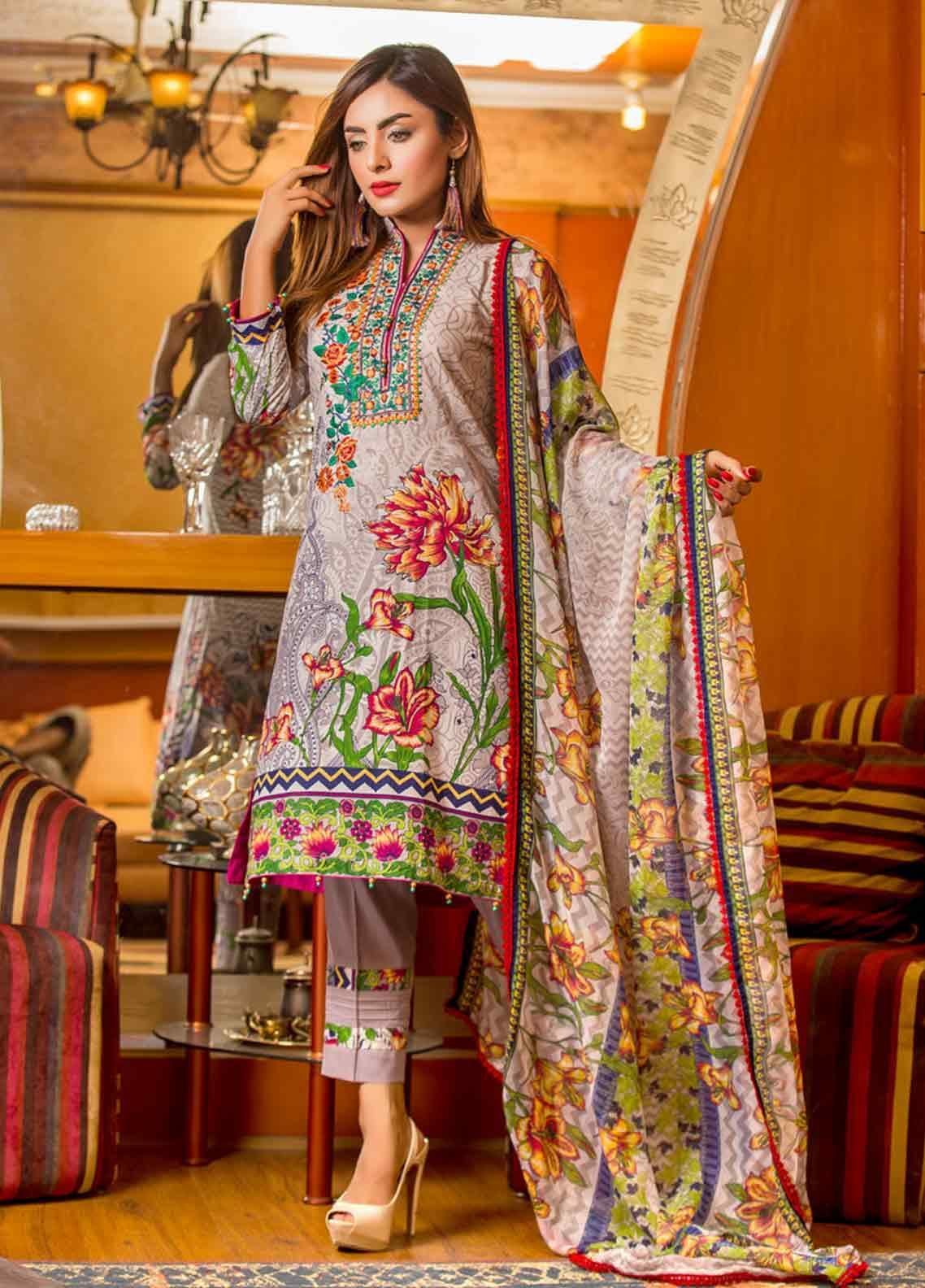Ruqayyah Embroidered Lawn Unstitched 3 Piece Suit RQY19L 03A - Mid Summer Collection