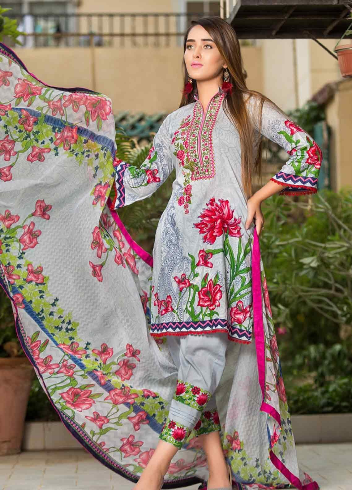 Ruqayyah Embroidered Lawn Unstitched 3 Piece Suit RQY19L 03B - Mid Summer Collection