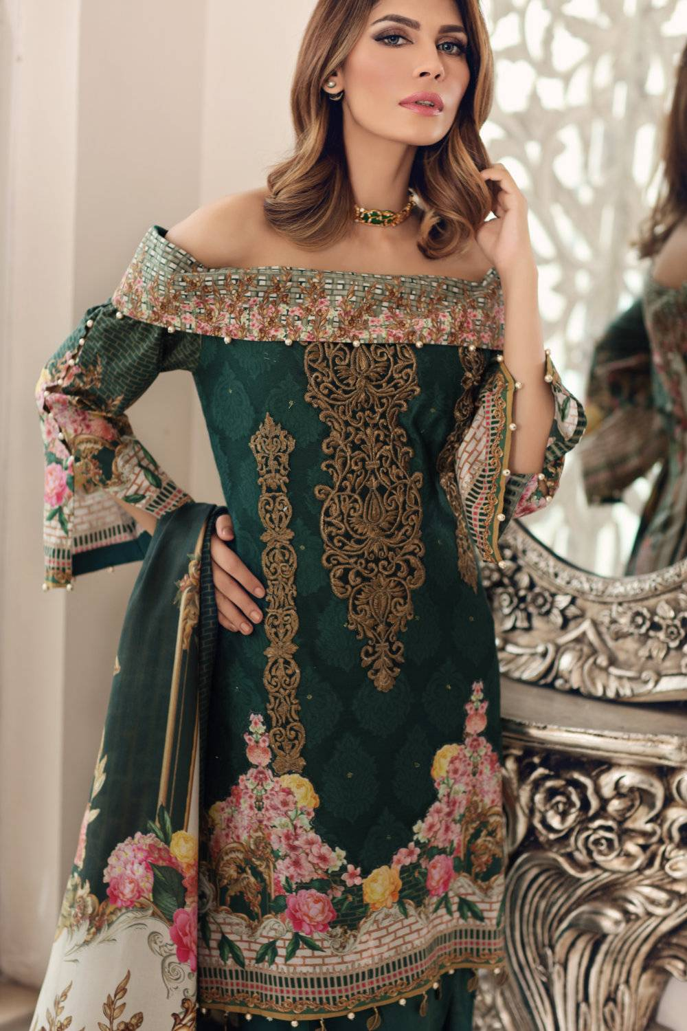 Noor by Saadia Asad Embroidered Cotton Unstitched 3 Piece Suit SA17E2 09