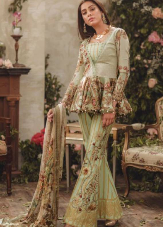 Noor By saadia asad Embroidered Lawn Unstitched 3 Piece Suit SA18L 06 MERRY MINT - Luxury Collection