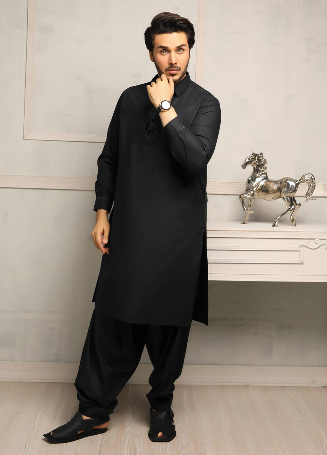 ac9cf5dc1c Buy Safeer by Edenrobe EMUC18-DESIRE Cotton Unstitched Men's Kameez Shalwar  Fabric for Men