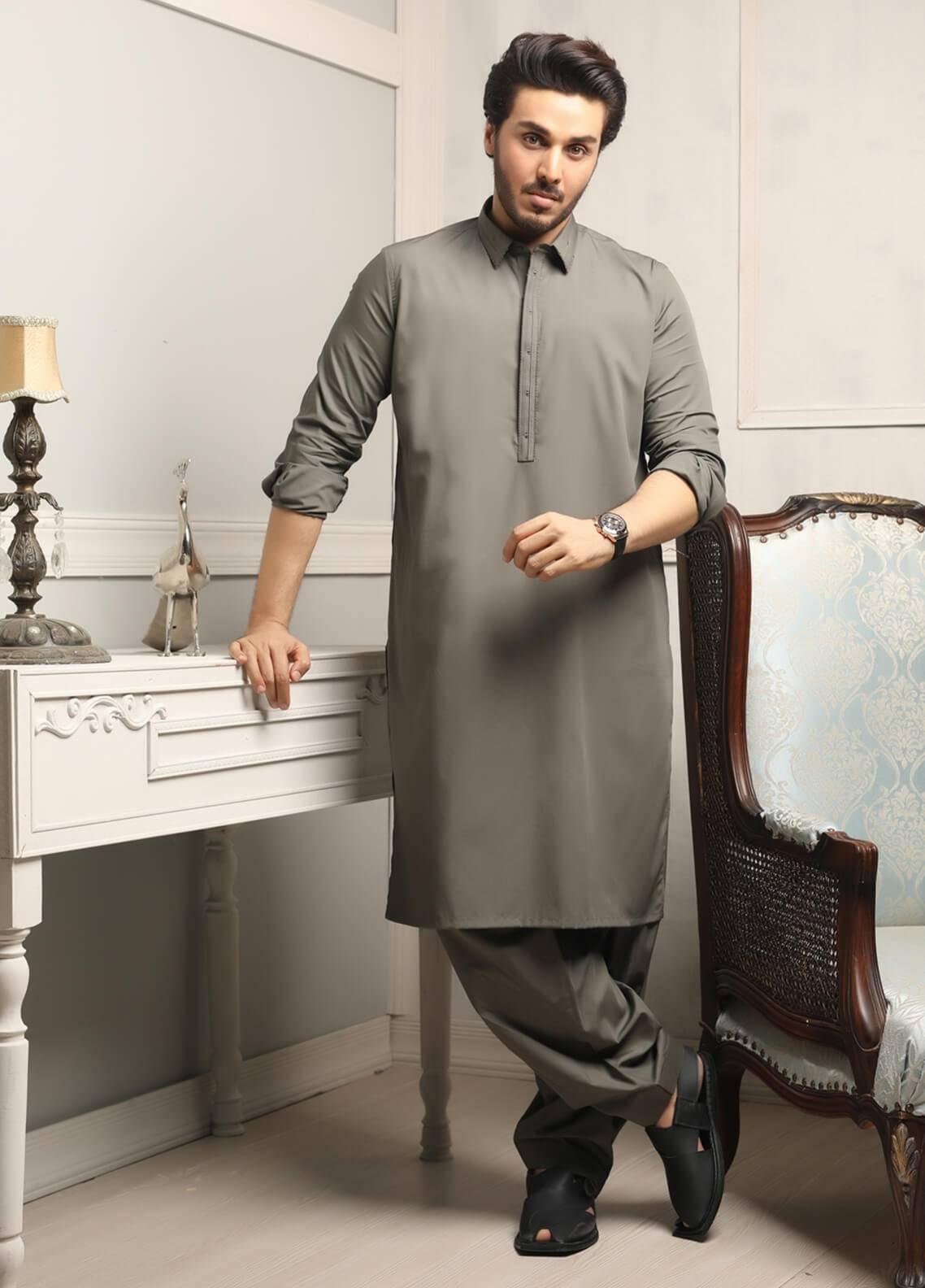a293749384 Safeer by Edenrobe EMUC18-MAJESTIC Cotton Unstitched Men's Kameez Shalwar  Fabric. Online only