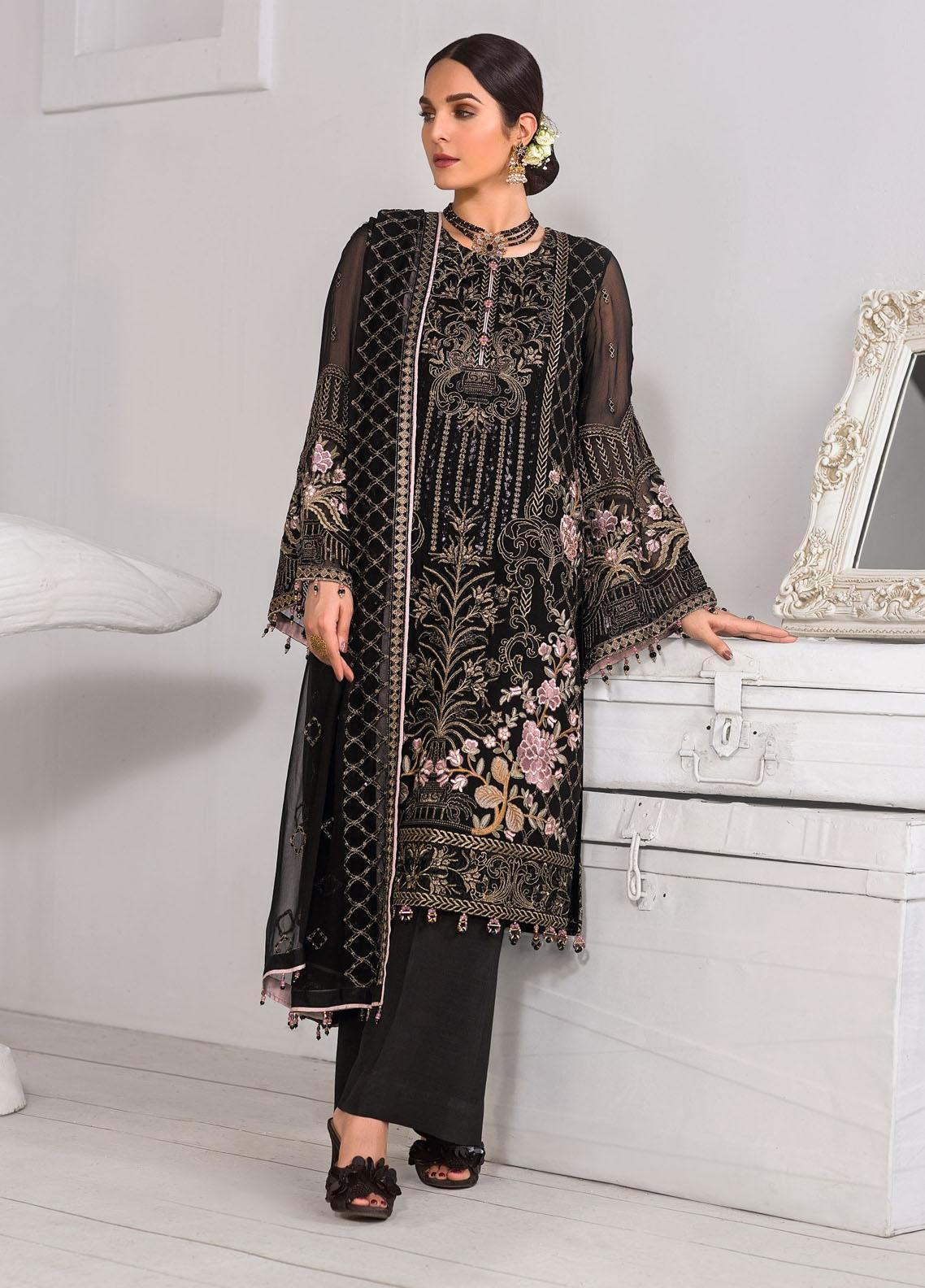 Safeera by Flossie Embroidered Chiffon Unstitched 3 Piece Suit FL20-SF6 08 Arcadia - Luxury Collection