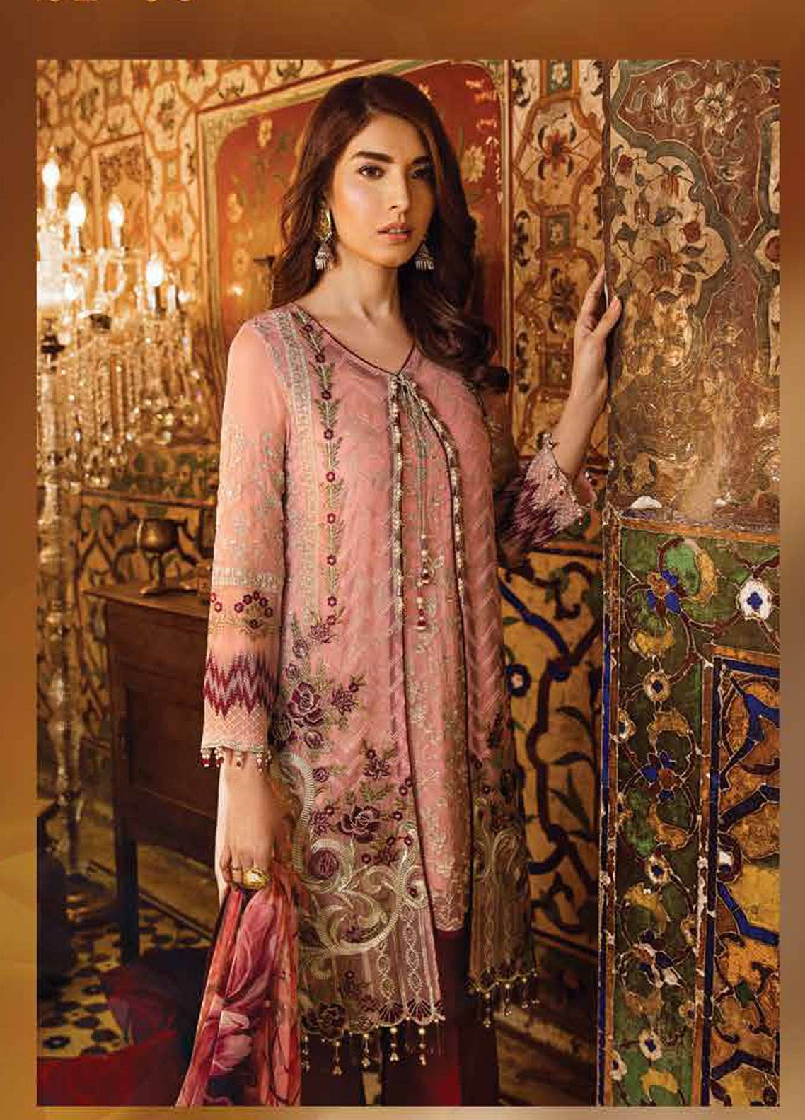 816009bf0c Safeera by Flossie Embroidered Chiffon Unstitched 3 Piece Suit SFR19ECC 05  - Luxury Collection