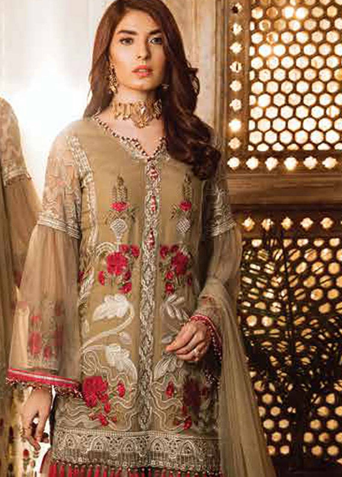 5ff0a71d97 Safeera by Flossie Embroidered Chiffon Unstitched 3 Piece Suit SFR19ECC 06  - Luxury Collection