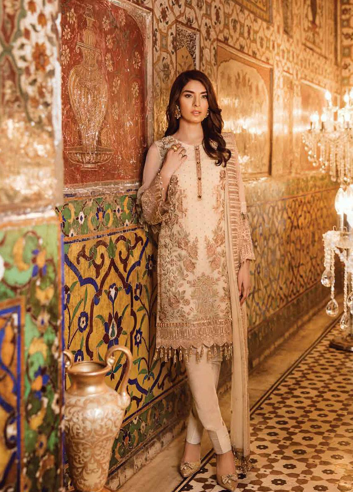 6c0081e2a1 Safeera by Flossie Embroidered Chiffon Unstitched 3 Piece Suit SFR19ECC 07  - Luxury Collection