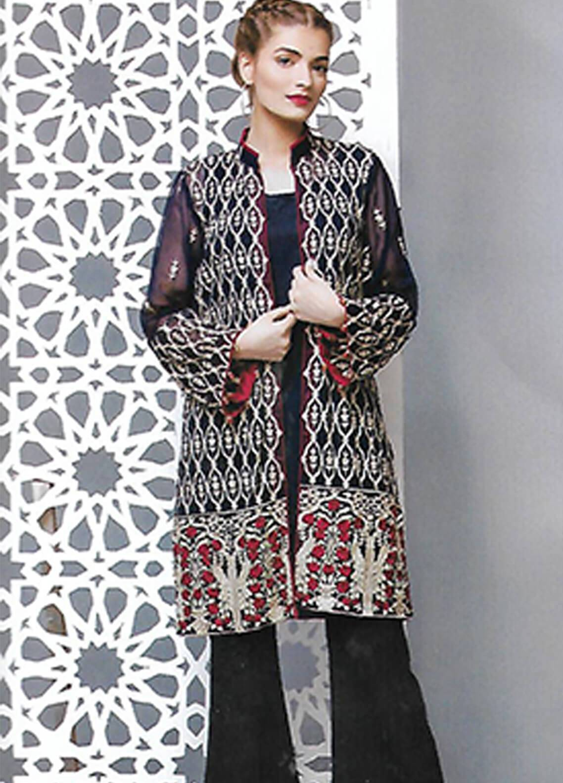 Sahil By ZS Textiles Embroidered Cotton Net Unstitched Kurties SE18KC 01 - Mid Summer Collection